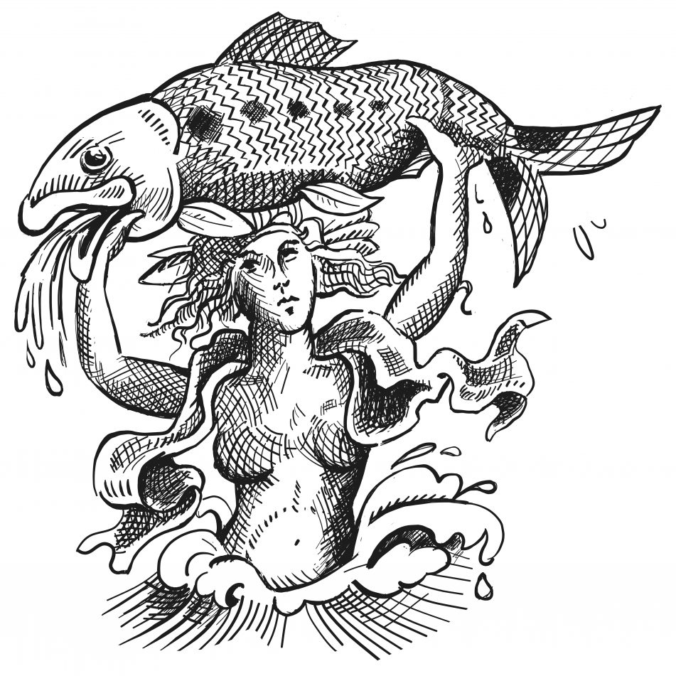 Illustration of Godess Sabrina holding aloft a shad