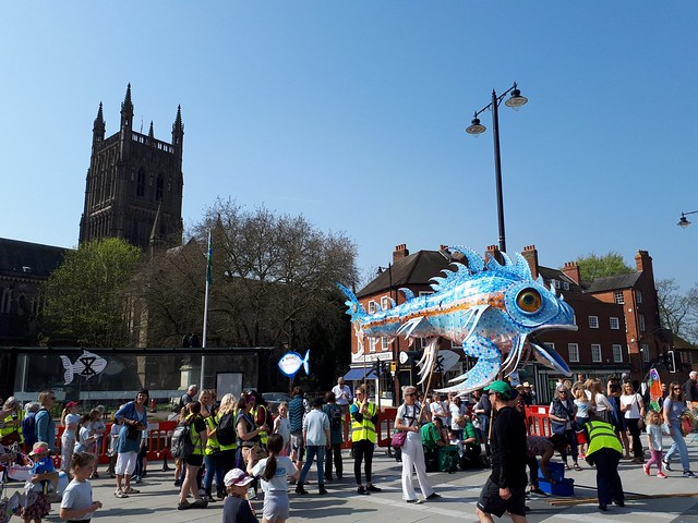 the wishing fish on parade in Worcester, on World Fish Migration Day