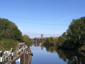 view up the River Severn from Diglis Island to Worcester Cathedral
