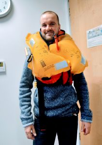 Pete wearing an inflated lifejacket