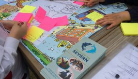 children crafting with unlocking the severn materials