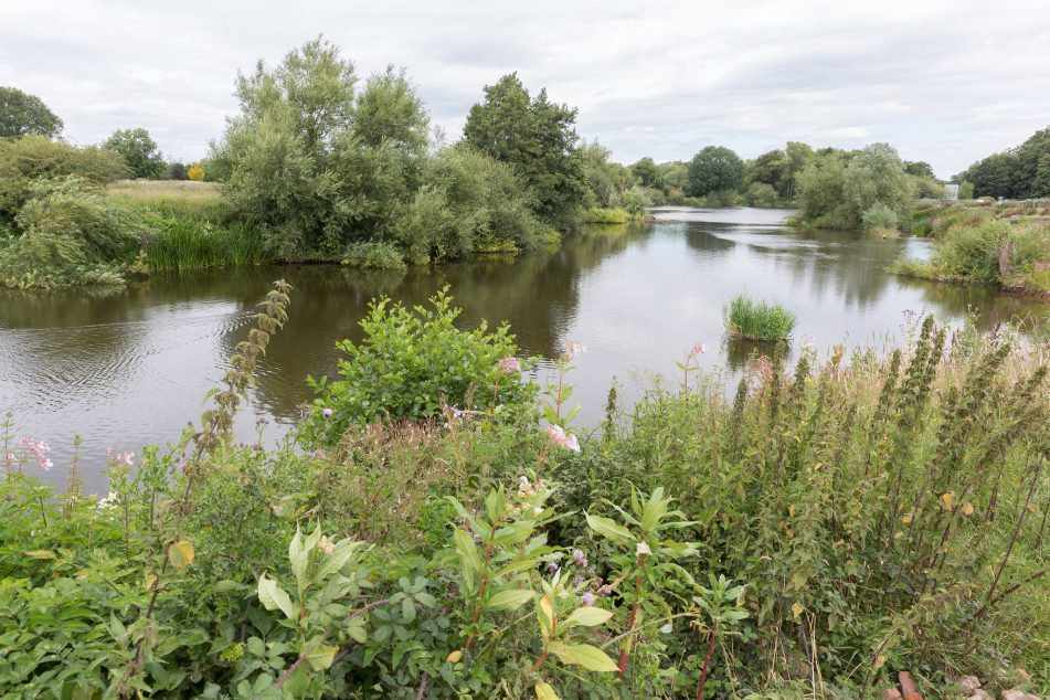 view of the River Severn looking upstream from Bevere wier
