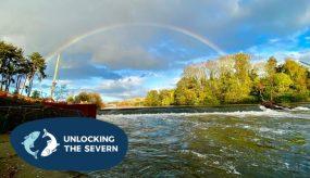 Rainbow over river severn