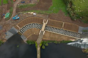 Bevere natural bypass channel Fish Pass from unlocking the Severn