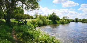 a school group visits the River Severn at Upper Lode Weir Tewkesbury to spot twaite shad as part of Unlocking the Severn